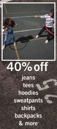 40% Off Jeans, Tees, Sweatshirts, and More