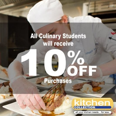 All Culinary Students Will Receive 10% Off Purchases