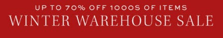 Up to 70% Off Winter Warehouse Sale from Pottery Barn
