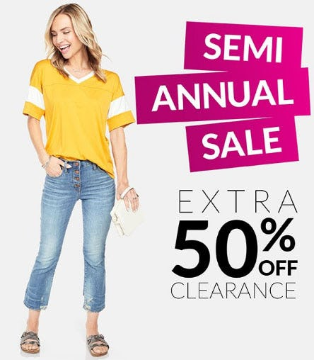 Extra 50% Off Semi Annual Sale