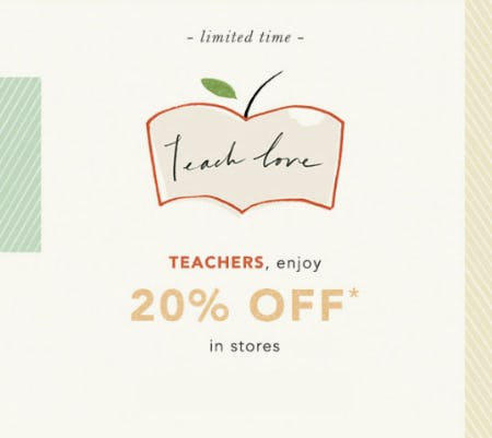Teachers, Enjoy 20% Off