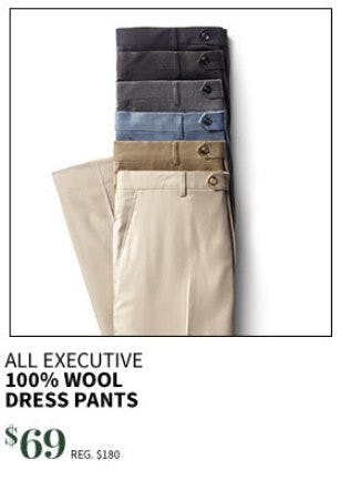 All Executive 100% Wool Dress Pants $69 from Jos. A. Bank