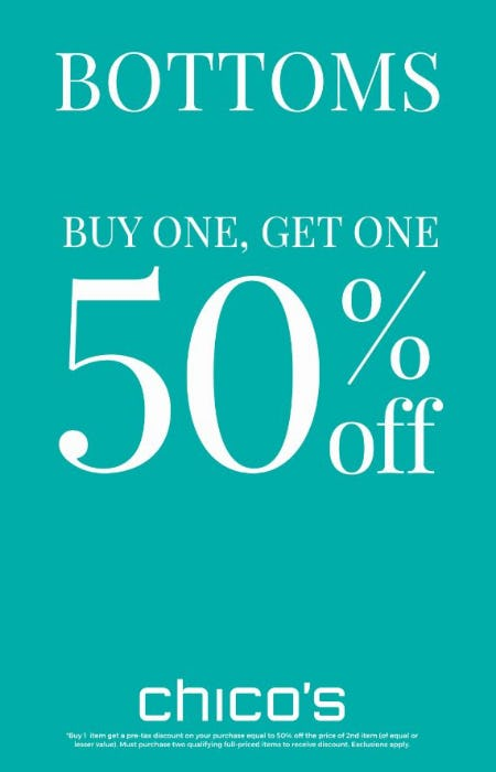 BOTTOMS Buy One, Get One 50% off* at Chico's | Mall St  Matthews