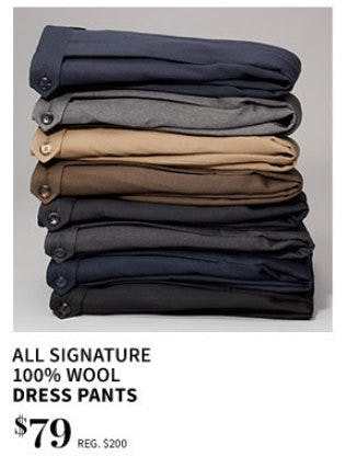 All Signature 100% Wool Dress Pants $79 from Jos. A. Bank