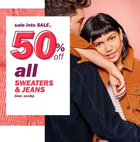 50% Off All Sweaters & Jeans from Old Navy
