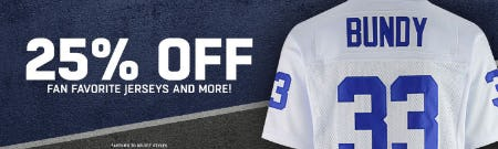 25% Off Fan Favorite Jerseys & More from Lids