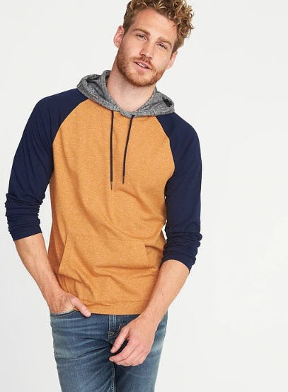 Soft-Washed Color-Block Hoodie for Men from Old Navy