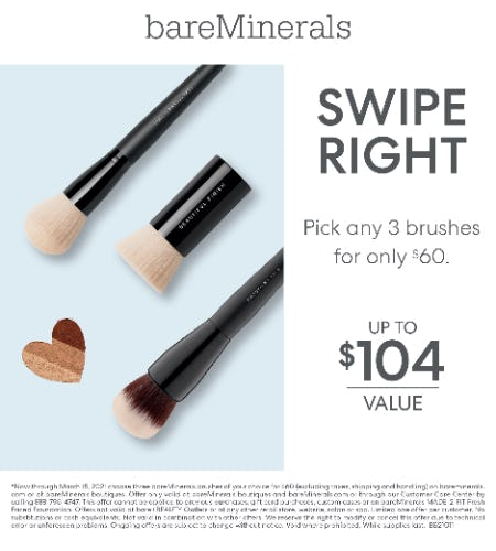 Your choice of any 3 brushes for $60 from bareMinerals