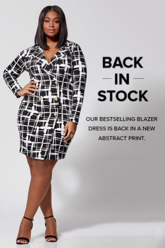 808bdd9ccc6 Our Bestselling Blazer Dress in a New Abstract Print ... Location pin icon  Fashion To Figure