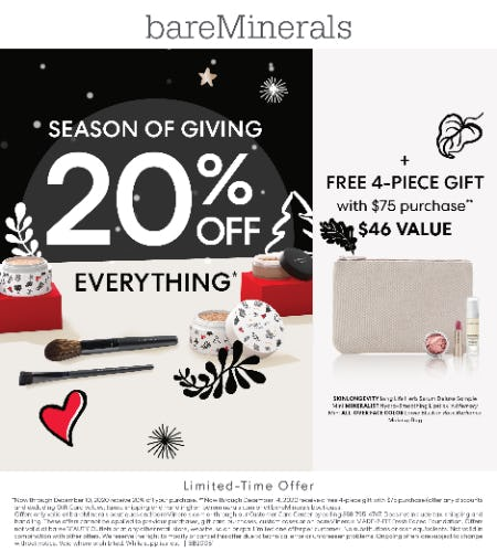 Holiday Event: 20% off Your Entire Purchase from bareMinerals