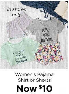 Women's Pajama Shirt or Shorts Now $10 from Kirkland's