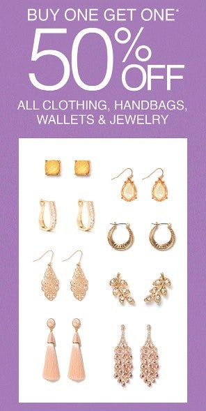 Buy One, Get One 50% Off All Clothing, Handbags, Wallets & Jewelry from Charming Charlie