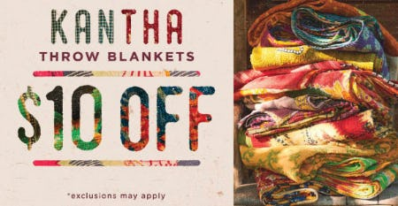 Kantha Throw Blankets $10 Off from Earthbound Trading Company