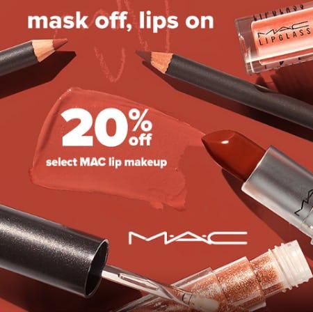 20% Off on Select MAC Lip Makeup from Belk
