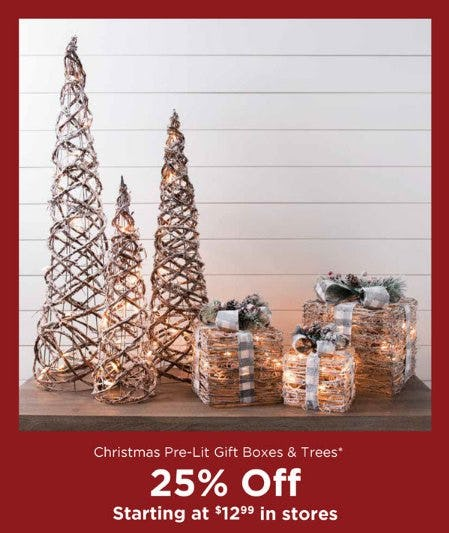 Christmas Pre-Lit Gift Boxes & Trees Starting at $12.99 from Kirkland's