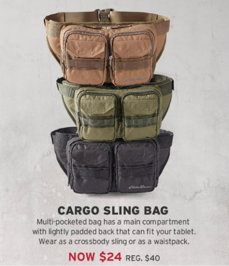 Cargo Sling Bag For $24 from Eddie Bauer