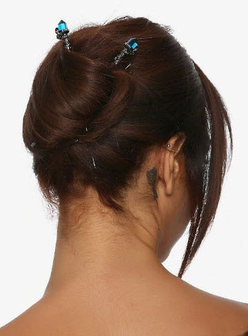Blue Crystal Gunmetal Hair Sticks