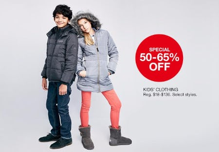 50-65% Off Kids' Clothing