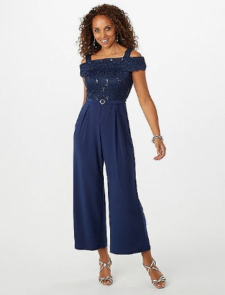 Sequin Lace Cold Shoulder Jumpsuit from Dressbarn