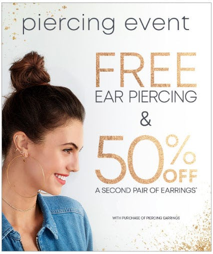 Free Ear Piercing & 50% Off from Piercing Pagoda