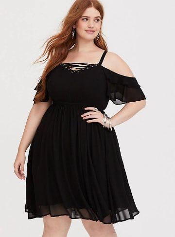 Black Lattice Chiffon Mini Dress from Torrid