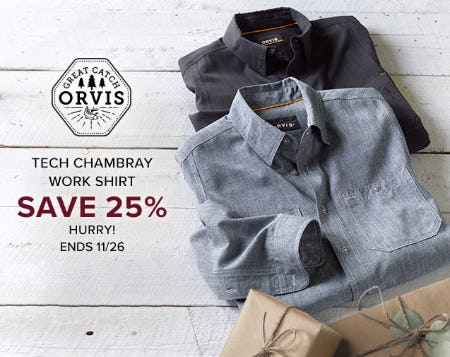 Tech Chambray Work Shirt Save 25% from Orvis