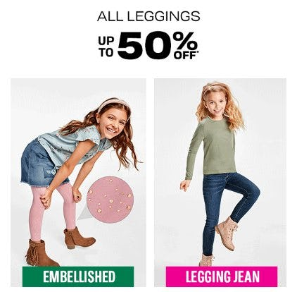 All Leggings up to 50% Off from The Children's Place Gymboree
