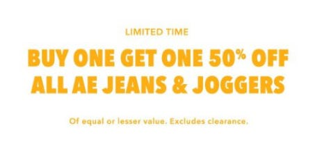 Buy One, Get One 50% Off All AE Jeans & Joggers from American Eagle Outfitters