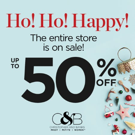 Up to 50% off Entire Store from christopher & banks