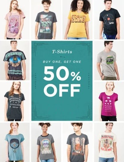 BOGO 50% Off T-Shirts from Earthbound Trading Company