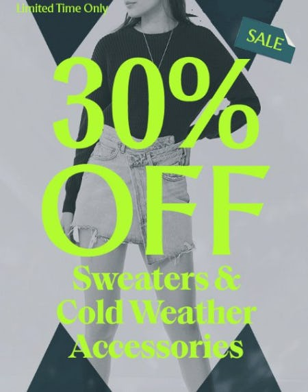 30% Off Sweaters & Cold Weather Accessories from Urban Outfitters