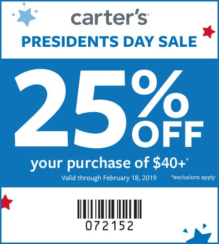 Presidents Day Sale Extra 25% Off $40+*