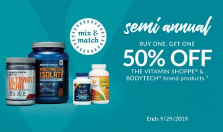 BOGO 50% Off The Vitamin Shoppe & Bodytech Brand Products