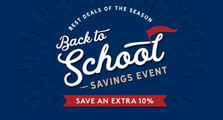 Extra 10% Off Back to School Savings Event