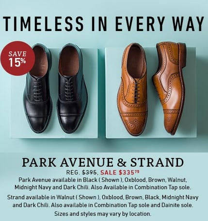 Save 15% on Park Avenue & Strand Styles