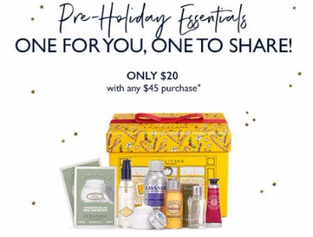 Pre-Holiday Essentials Only $20 With Any $45 Purchase