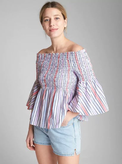 Smocked Off-Shoulder Stripe Top