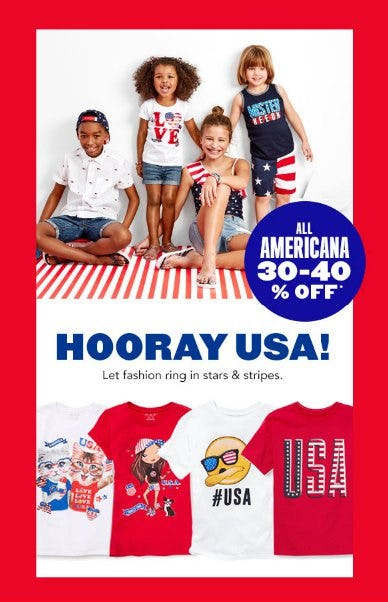 All Americana 30-40% Off from The Children's Place