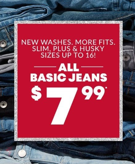 All Basic Jeans for $7.99 Each