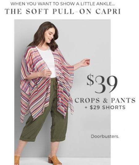 $39 Crops & Pants + $29 Shorts from Lane Bryant
