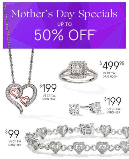 Mother's Day Specials: Up to 50% Off from Zales The Diamond Store