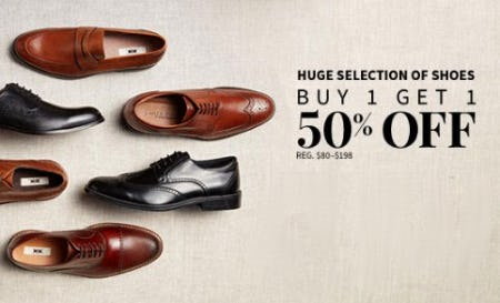 Huge Selection of Shoes Buy 1, Get 1 50% Off
