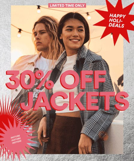 30% Off Jackets from Cotton On