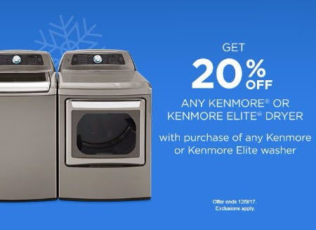 Get 20% Off Any Kenmore or Kenmore Elite Dryer
