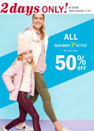 50% Off All Old Navy Active from Old Navy