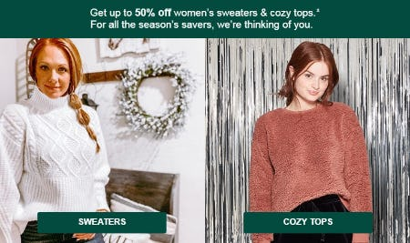 Up to 50% Off Women's Sweaters & Cozy Tops from Target