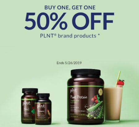 BOGO 50% Off PLNT Brand Products