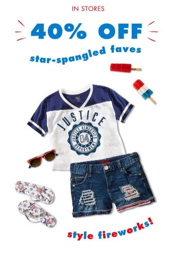 40% Off Star-Spangled Faves from Justice
