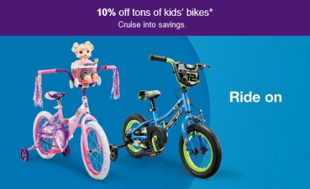 10% Off Tons of Kids' Bikes