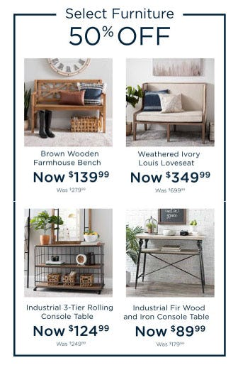 50% Off Select Furniture from Kirkland's